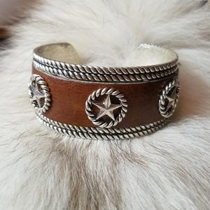 Western Stars Brown and Silver Cuff Bracelet